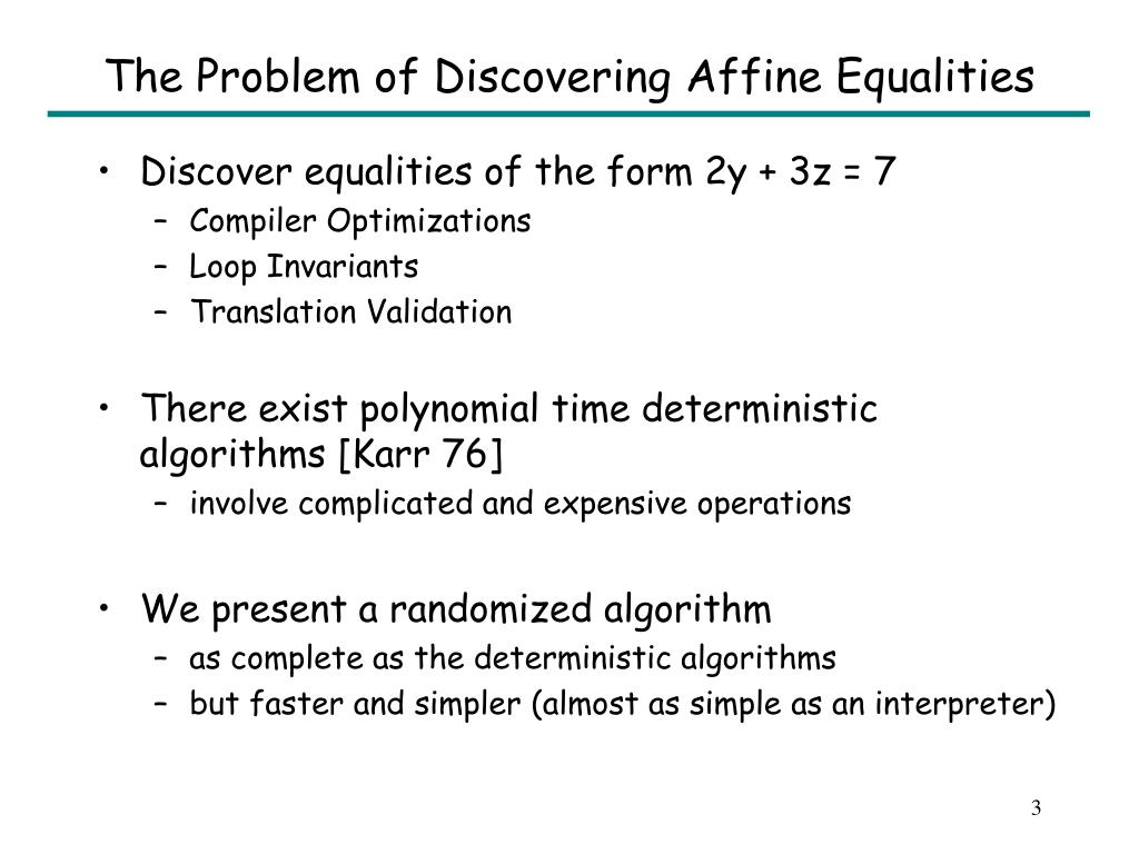 The Problem of Discovering Affine Equalities