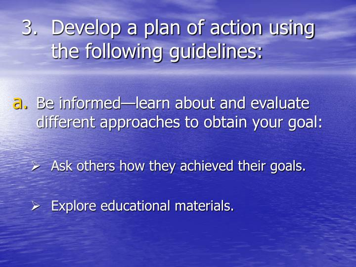 Develop a plan of action using the following guidelines: