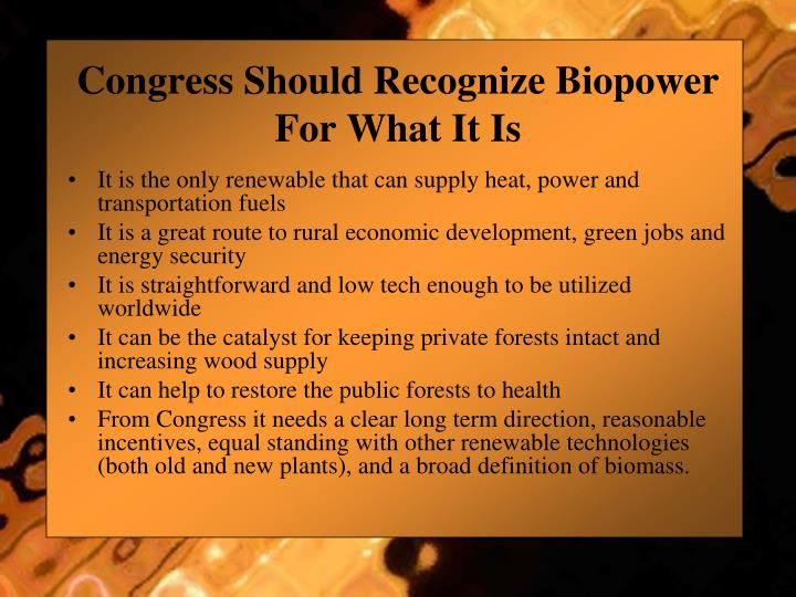Congress Should Recognize Biopower For What It Is