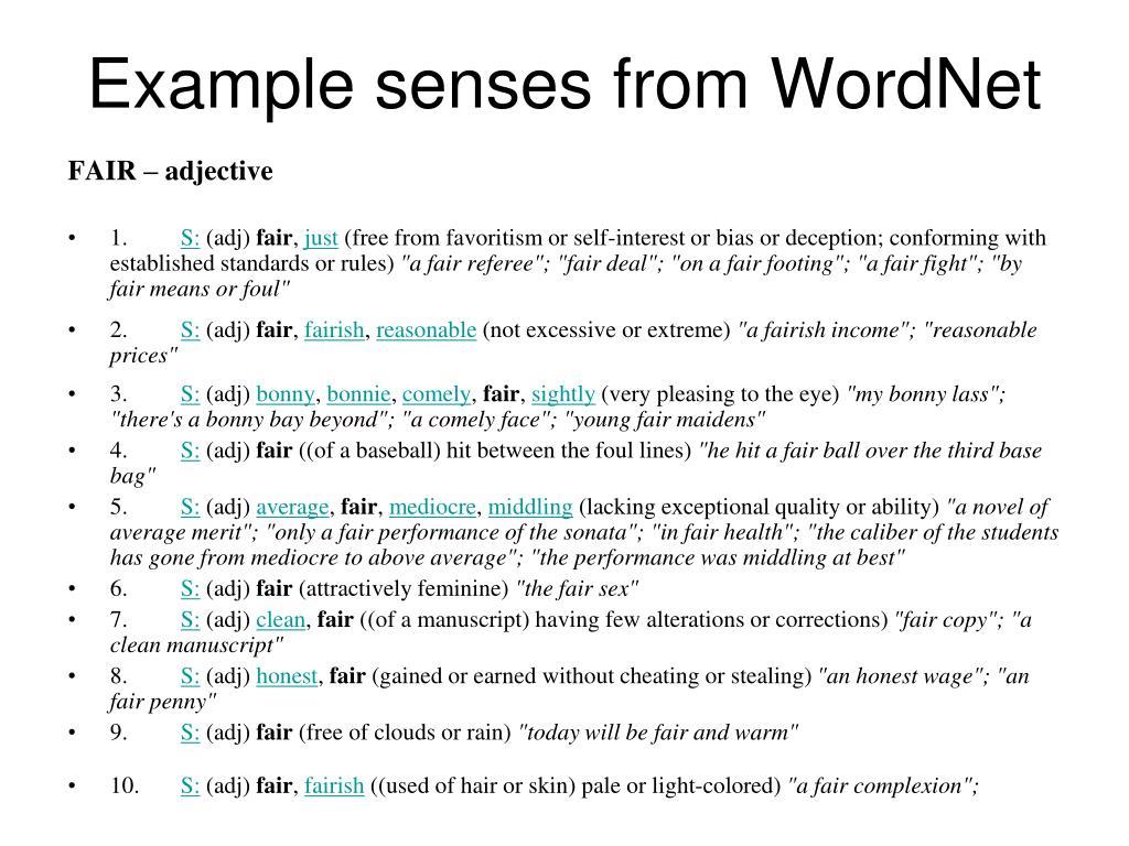 Example senses from WordNet