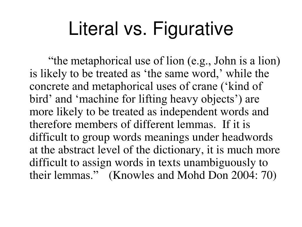 Literal vs. Figurative