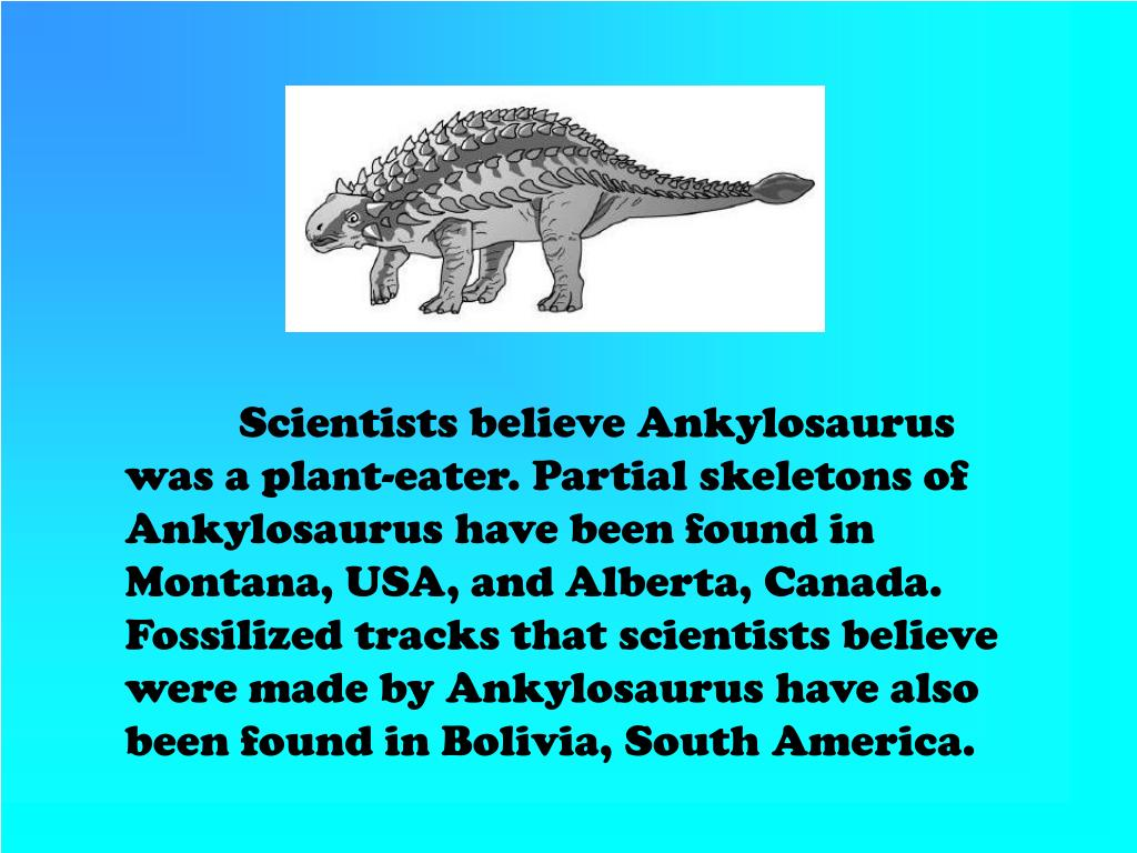 Scientists believe Ankylosaurus was a plant-eater. Partial skeletons of
