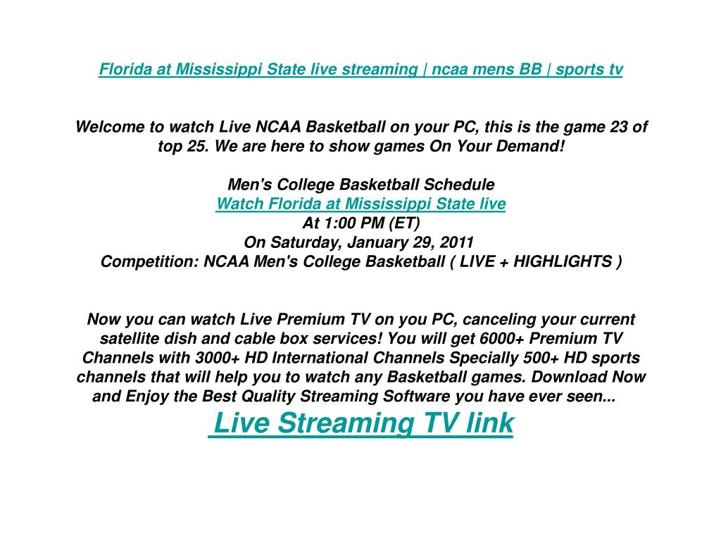 Florida at Mississippi State live streaming | ncaa mens BB | sports tv