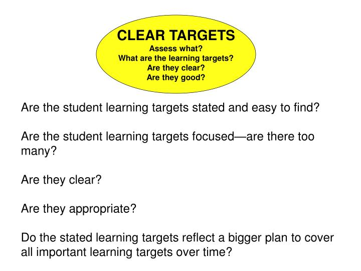 Are the student learning targets stated and easy to find?