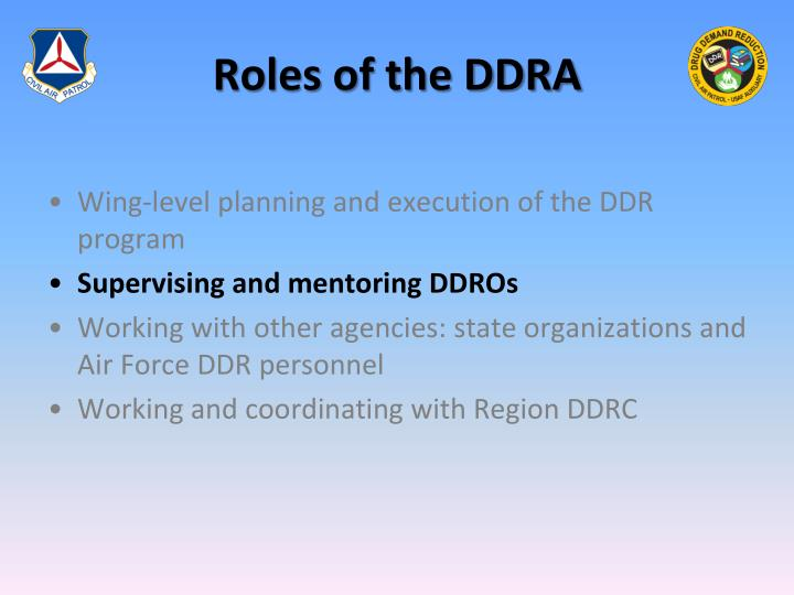 Roles of the DDRA