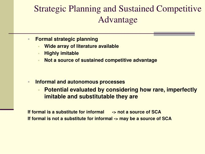 Strategic Planning and Sustained Competitive Advantage