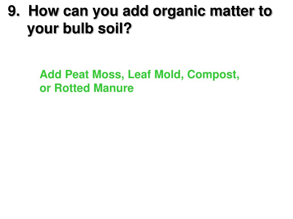 9.  How can you add organic matter to   your bulb soil?