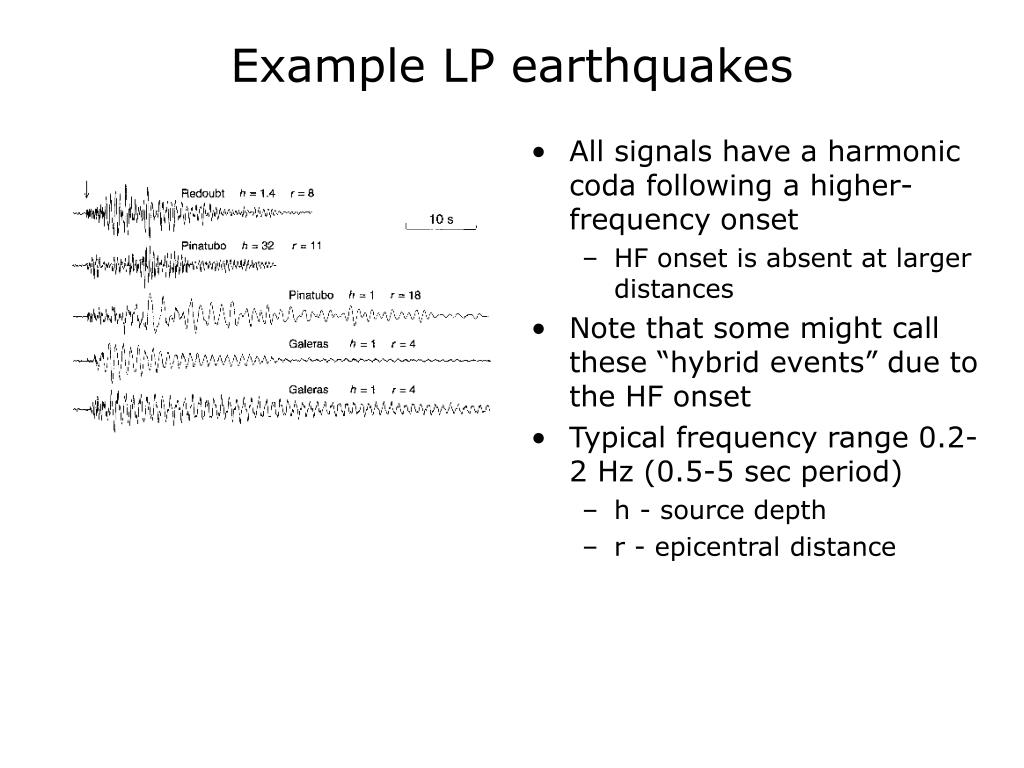 Example LP earthquakes