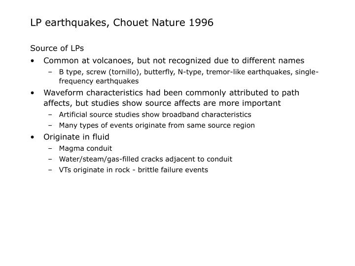 Lp earthquakes chouet nature 19963
