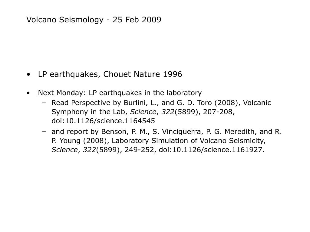 volcano seismology 25 feb 2009