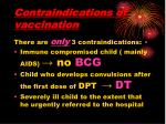 contraindications of vaccination