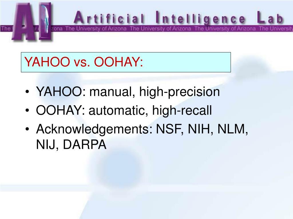 YAHOO: manual, high-precision