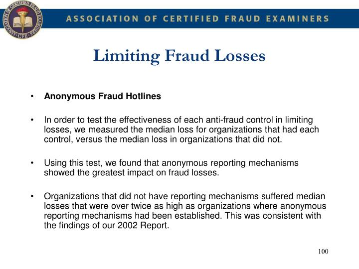 Limiting Fraud Losses