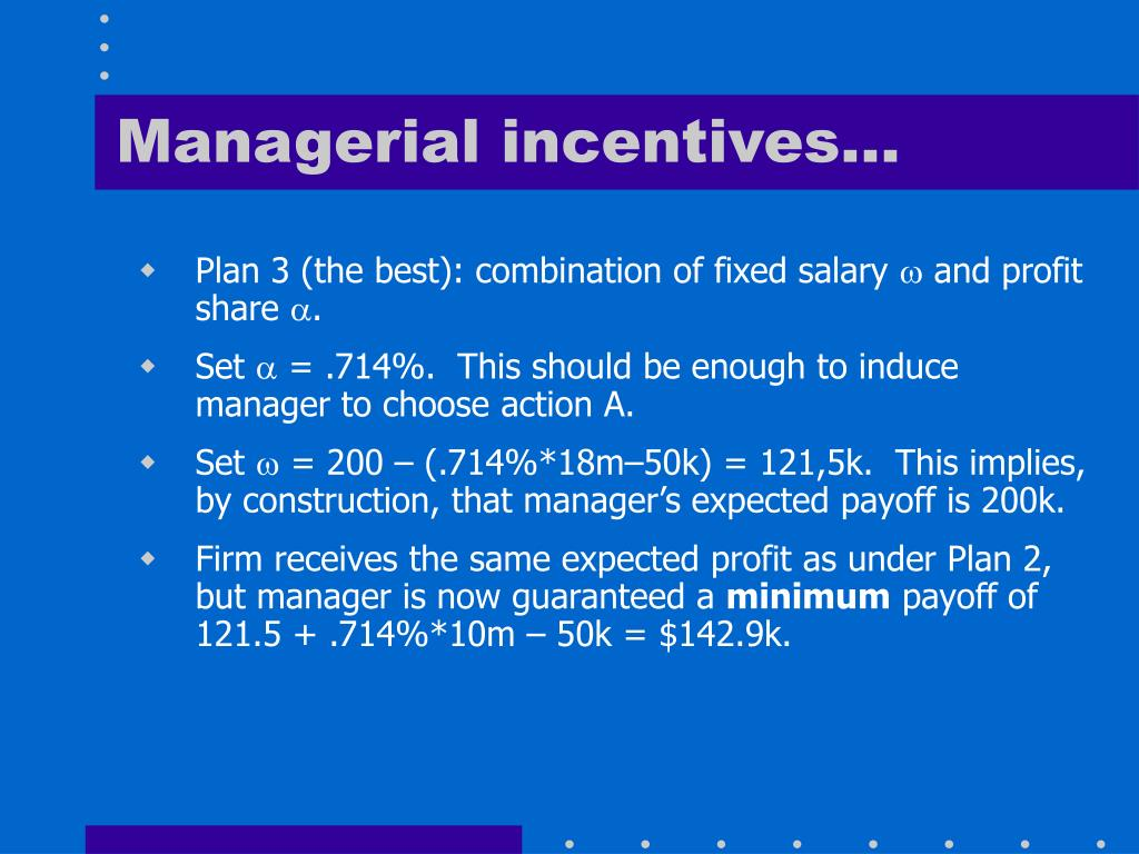 Managerial incentives…