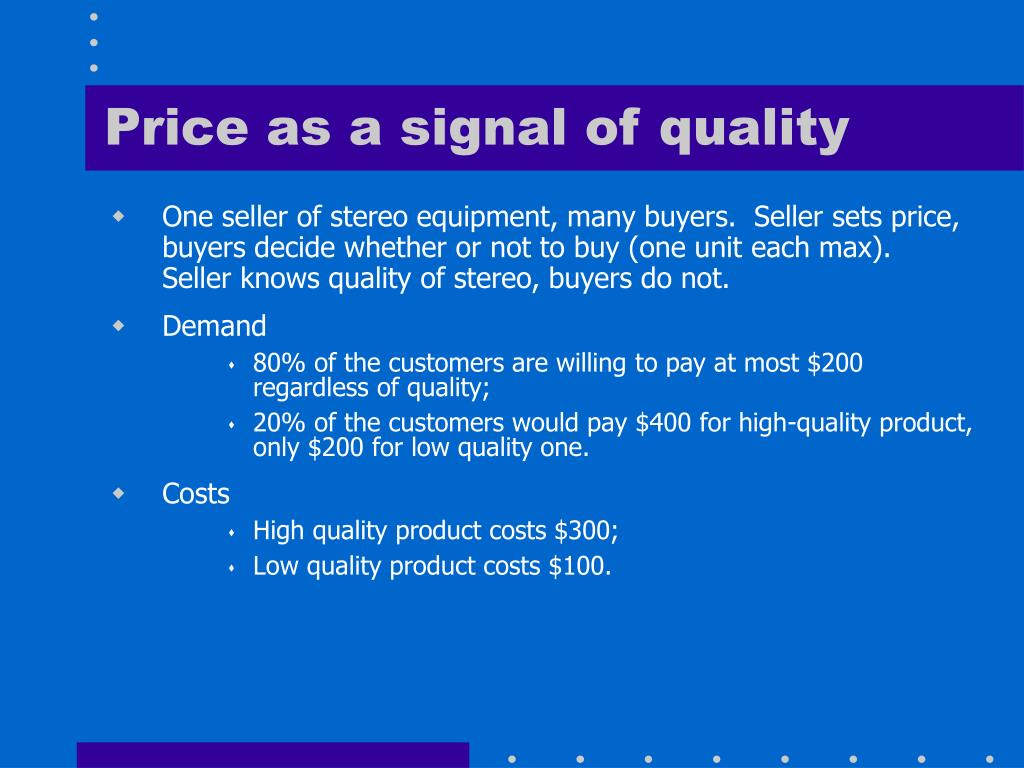 Price as a signal of quality