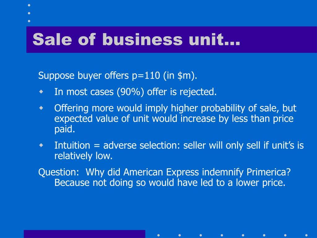 Sale of business unit…