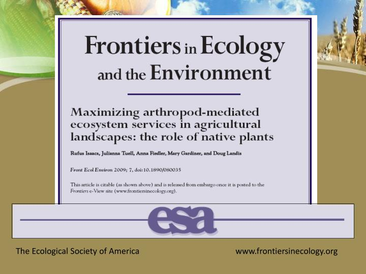 The Ecological Society of America			www.frontiersinecology.org