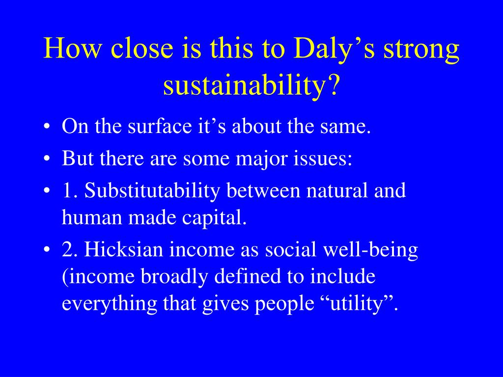 How close is this to Daly's strong sustainability?