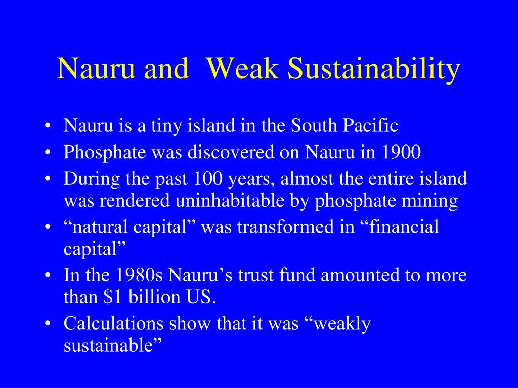 Nauru and  Weak Sustainability