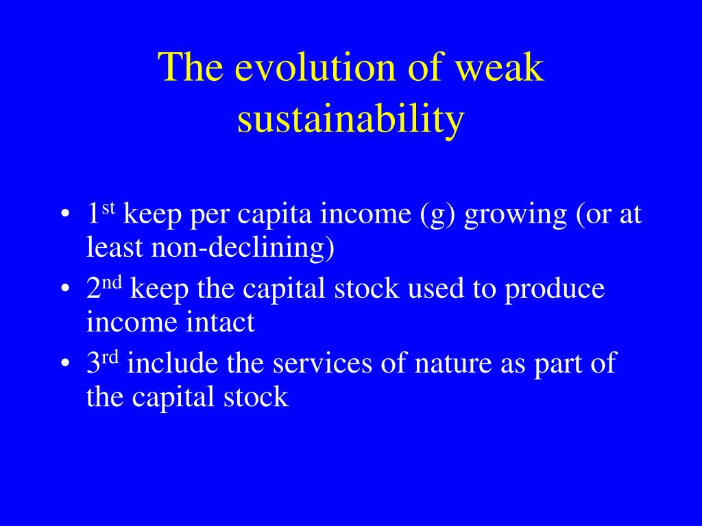 The evolution of weak sustainability