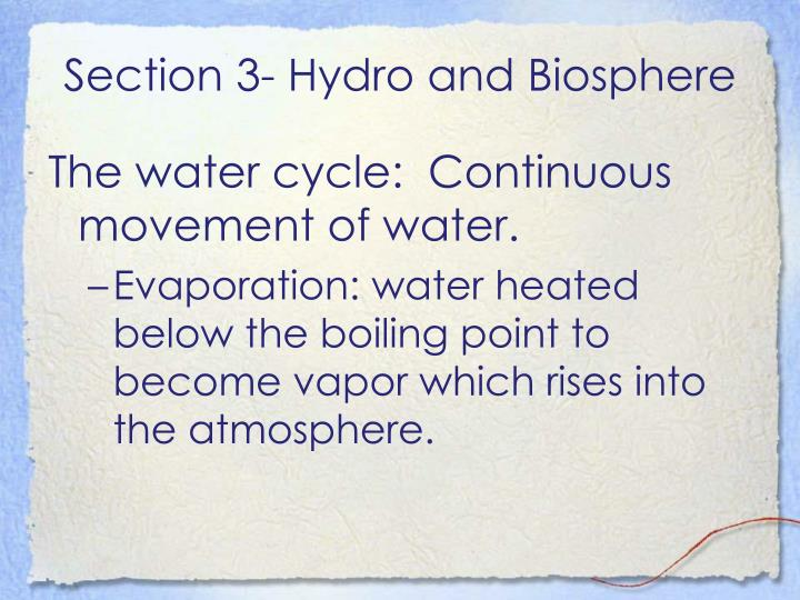 Section 3- Hydro and Biosphere