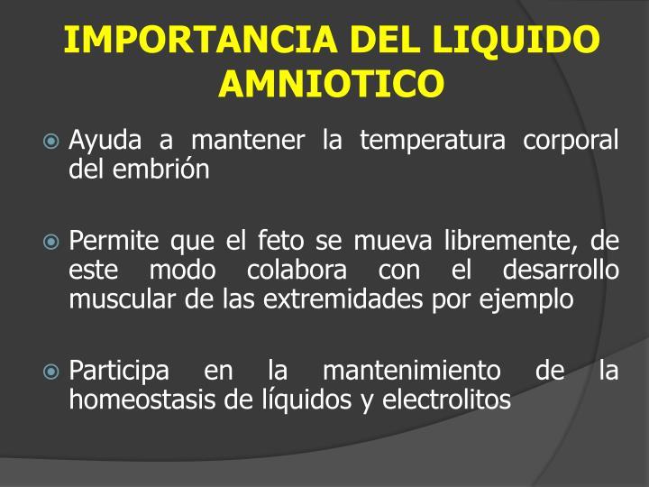 IMPORTANCIA DEL LIQUIDO AMNIOTICO