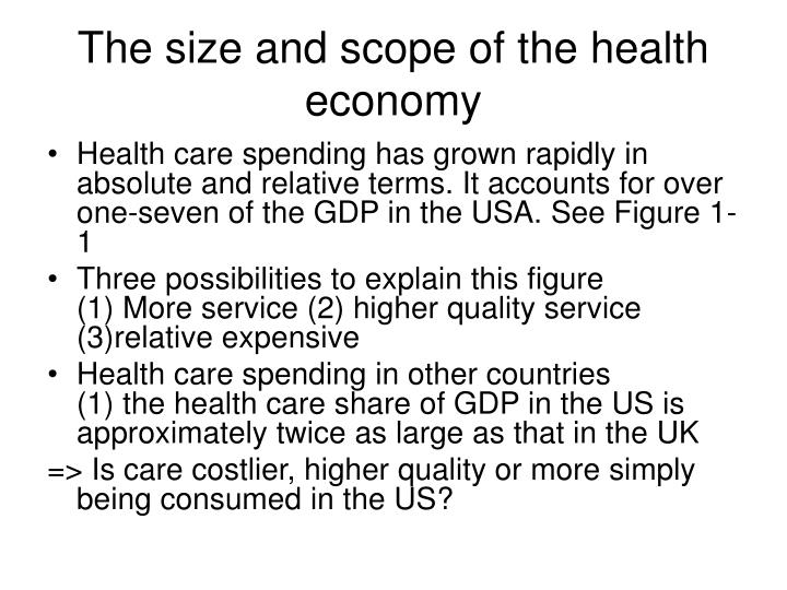 The size and scope of the health economy