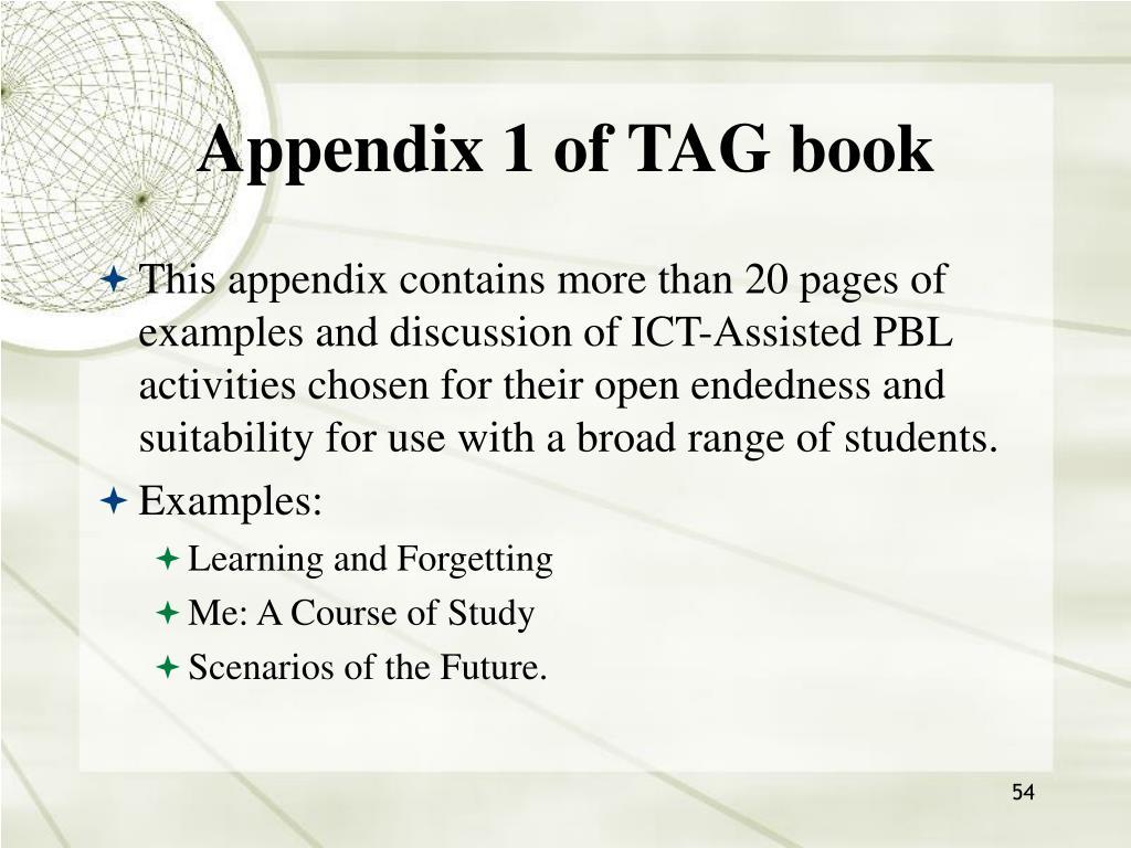Appendix 1 of TAG book