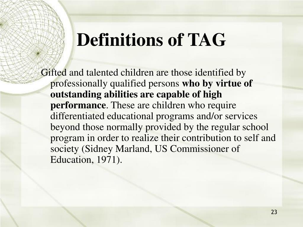 Definitions of TAG