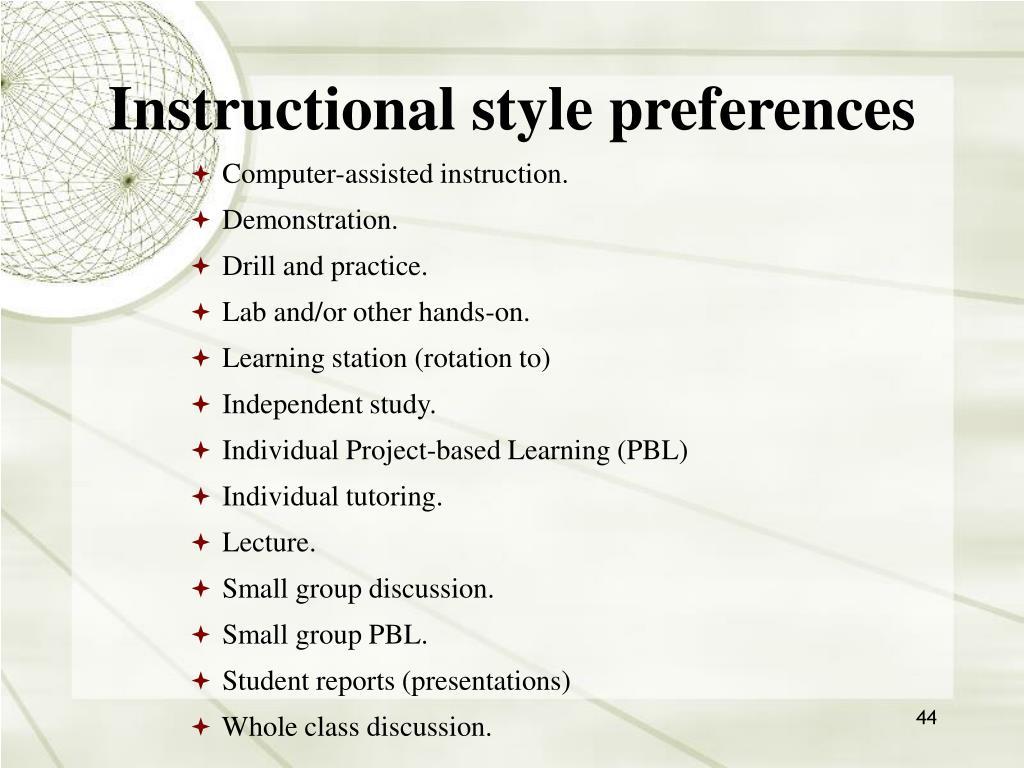 Instructional style preferences