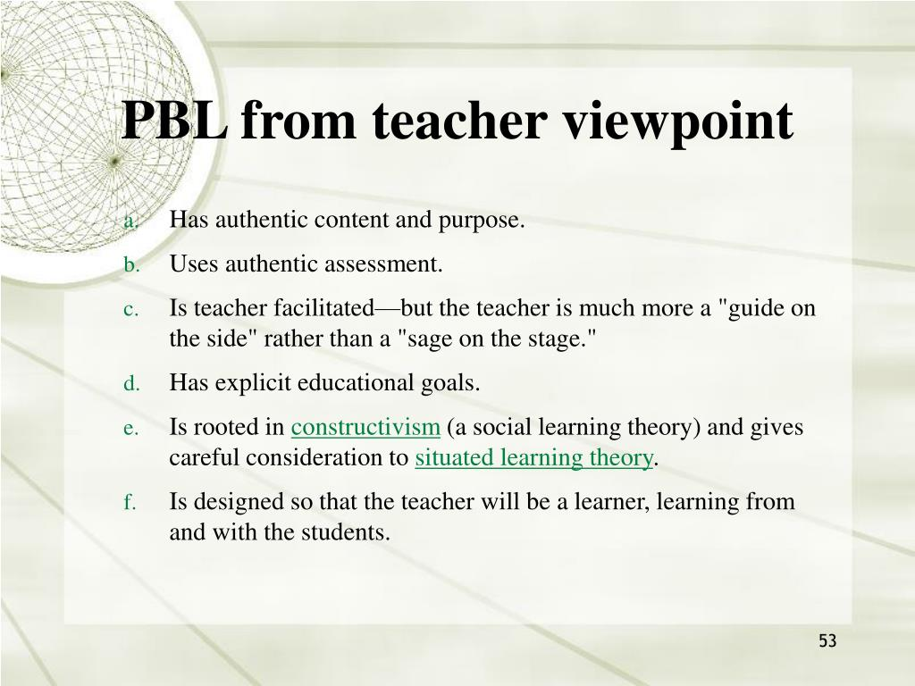 PBL from teacher viewpoint