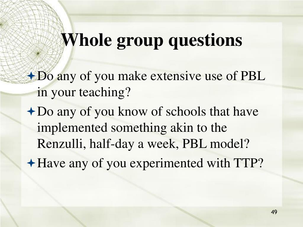Whole group questions
