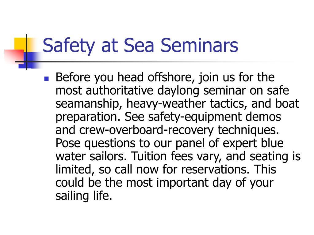 Safety at Sea Seminars