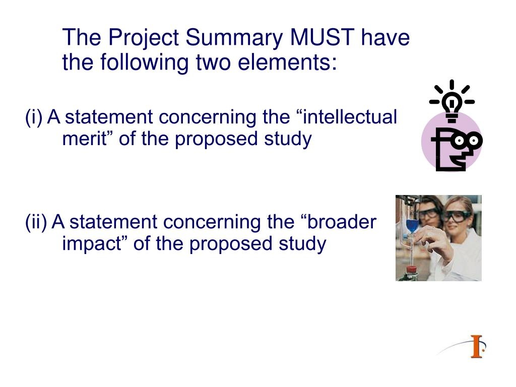 The Project Summary MUST have the following two elements:
