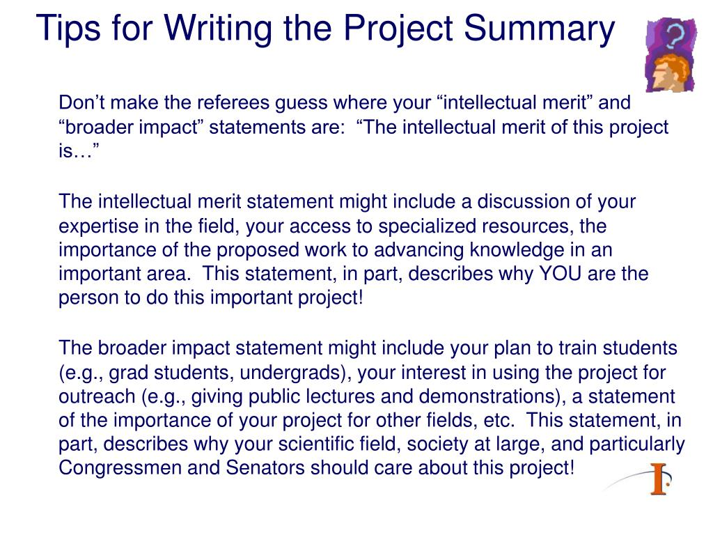 Tips for Writing the Project Summary