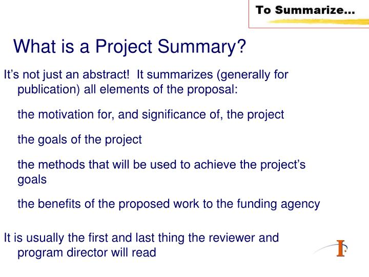 What is a project summary