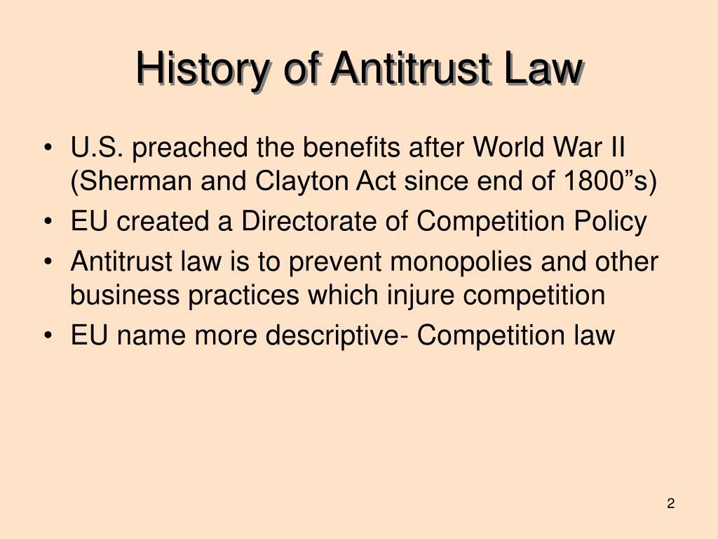 History of Antitrust Law