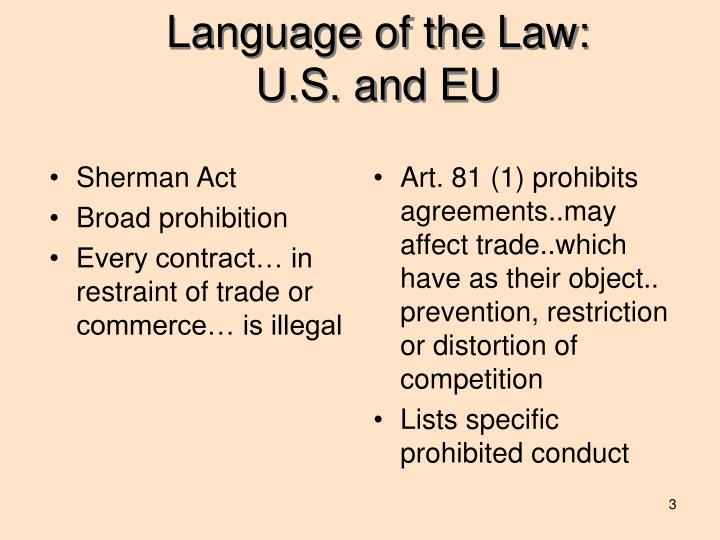 Language of the law u s and eu