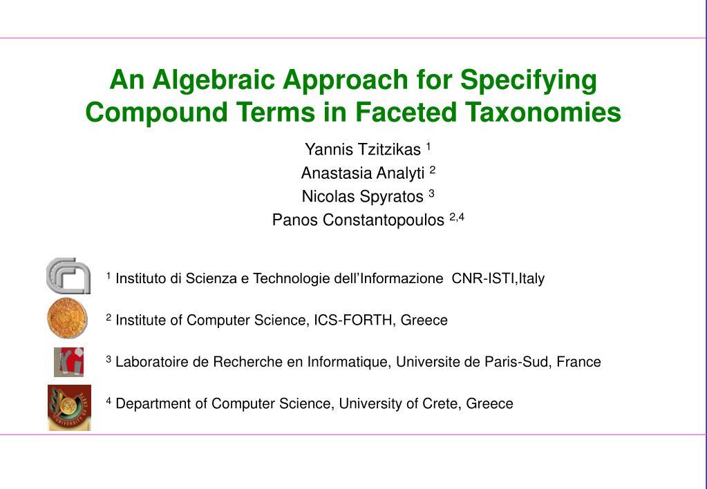 An Algebraic Approach for Specifying