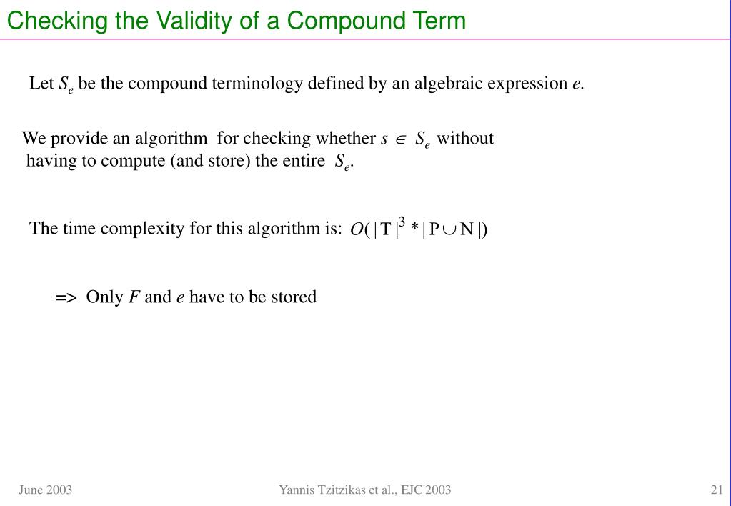 Checking the Validity of a Compound Term