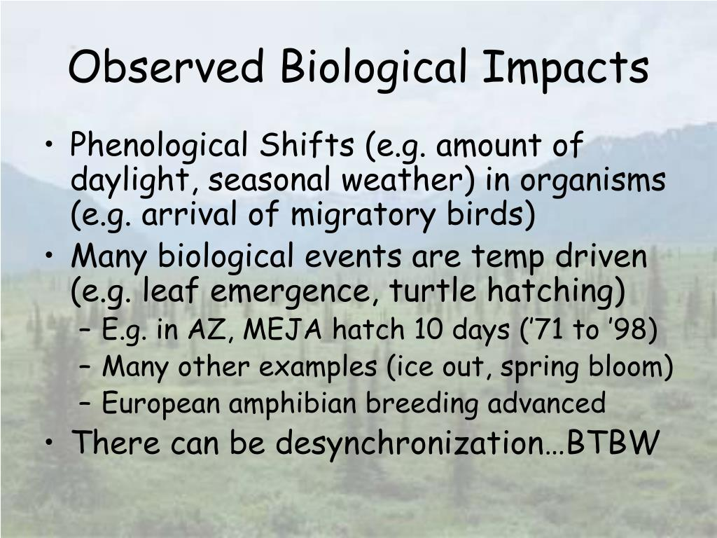 Observed Biological Impacts