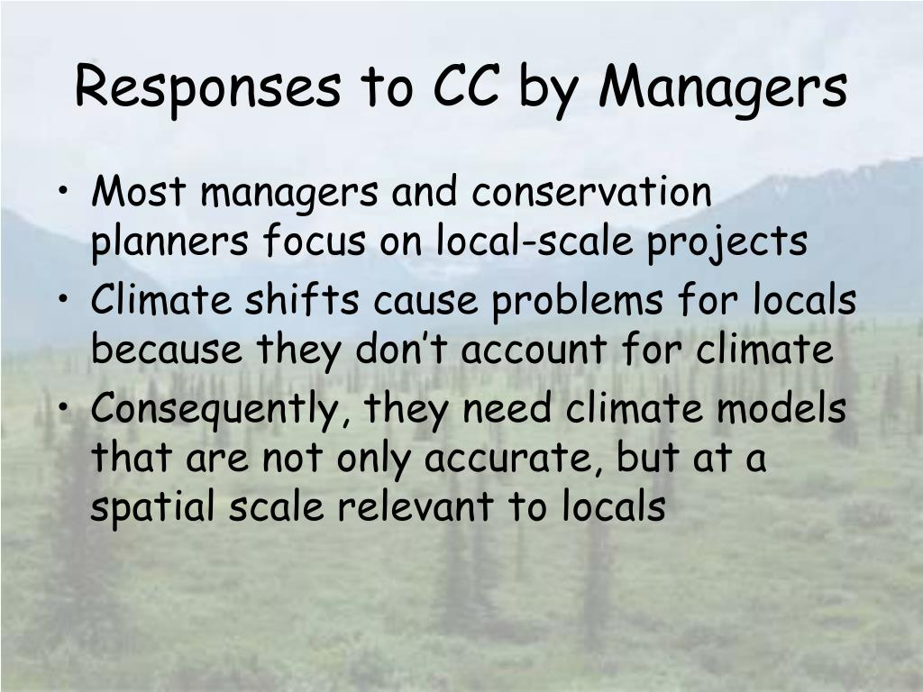 Responses to CC by Managers