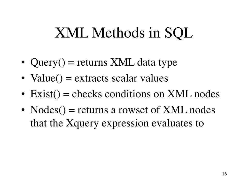 XML Methods in SQL