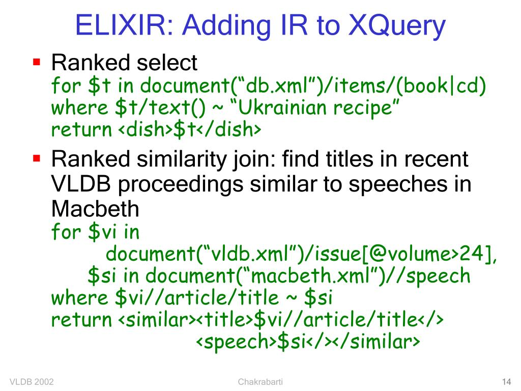 ELIXIR: Adding IR to XQuery