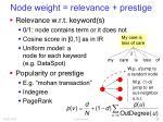 node weight relevance prestige