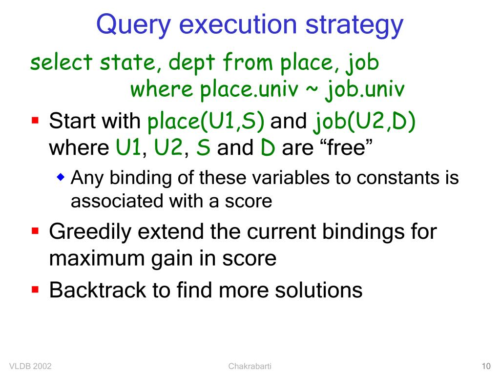 Query execution strategy