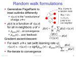 random walk formulations