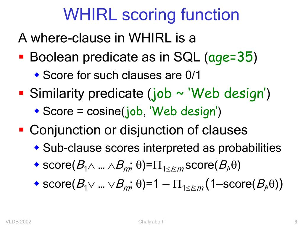 WHIRL scoring function