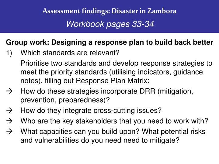 Assessment findings: Disaster in Zambora