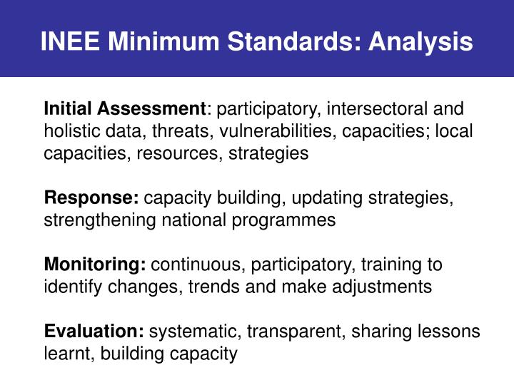 INEE Minimum Standards: Analysis